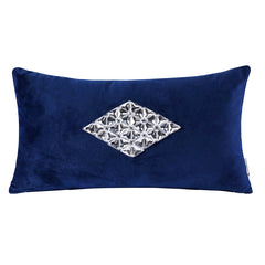 Vintage Velvet Home Decorative Throw Pillow, Blue & Diamond