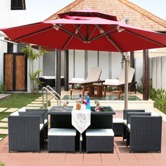 Offset Patio Umbrella - Cantilever Umbrella with Umbrella Cover Crank Lift & Cross Base,Green