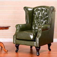 Modern Living Room Leather Armchair, Accent Chair, Dark Green