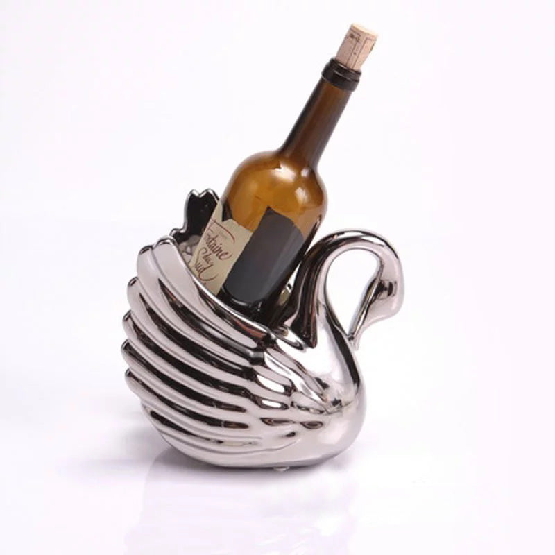 Swan Shaped Wine Holder - Sculpture Wine Rack, Silver