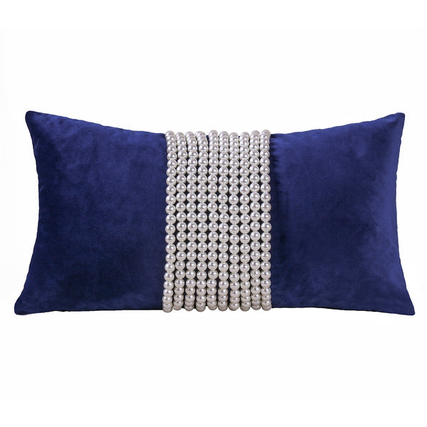 Decorative  pillow with pearl Strip or pearlTassels, Blue