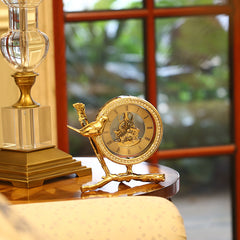 Pure Copper Bird Figurine Shaped Design Clock with Diamond Small Decorative