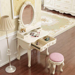 European style Vanity Set with Mirror, Dressing Table and Ottoman