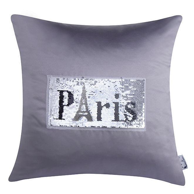 Bling Paris  Decorated Cushion, Gray