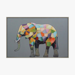 Colorful Abstract Elephant Portrait Animal Framed Wall Art