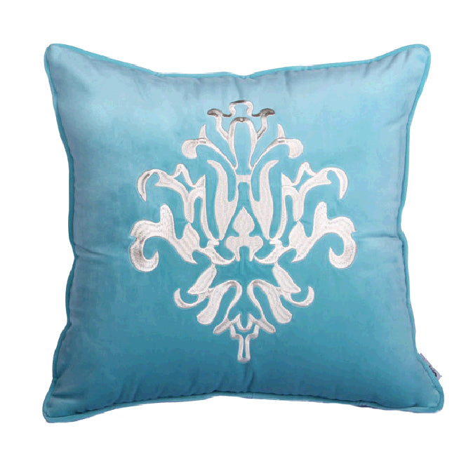 Velvet Flower Printed Velvet Throw Pillow Decor Cushion, Blue\Dark Blue