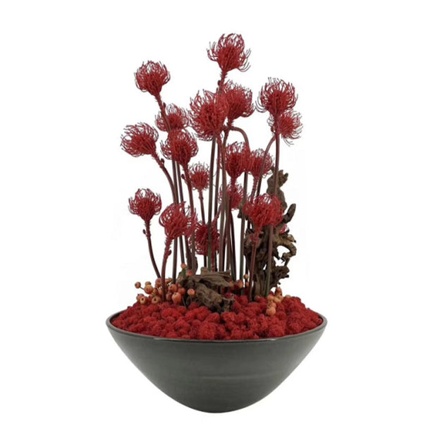 Ikebana Art - Artificial RED Leucospermum Cordifolium and Moss with Vase