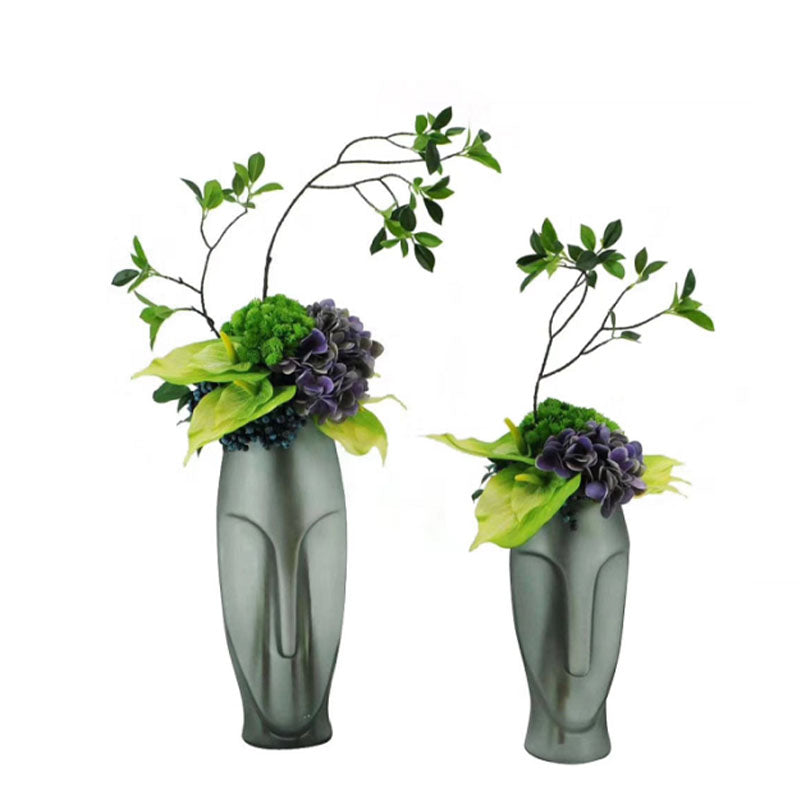 Ikebana Art - Artificial Hydrangea and Eucalyptus with Face Vase