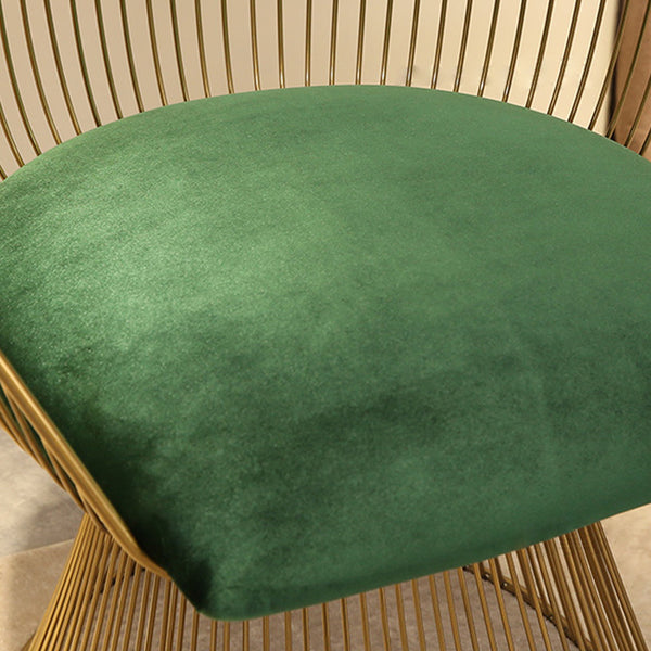 Curved Accent Chair, Velvet Upholstered with Gold Legs