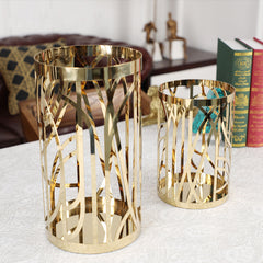 Hollow Round Candle Holder - Pen Pencil Holder Vase Pot, Gold