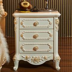 European Style Classic Bedside Table - Golden Sculpture Round Accent Table