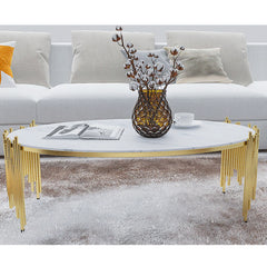 Modern Living Room Oval Coffee Table with Metal Frame & Faux Marble Top