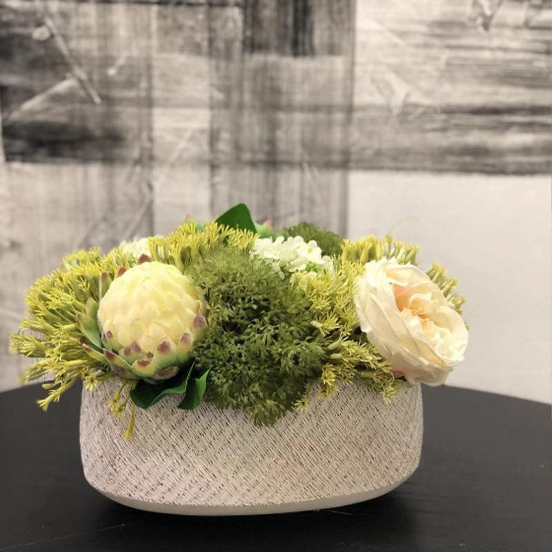 Ikebana Art - Artificial Protea Cynaroides, Rose and Hydrangea with Vase