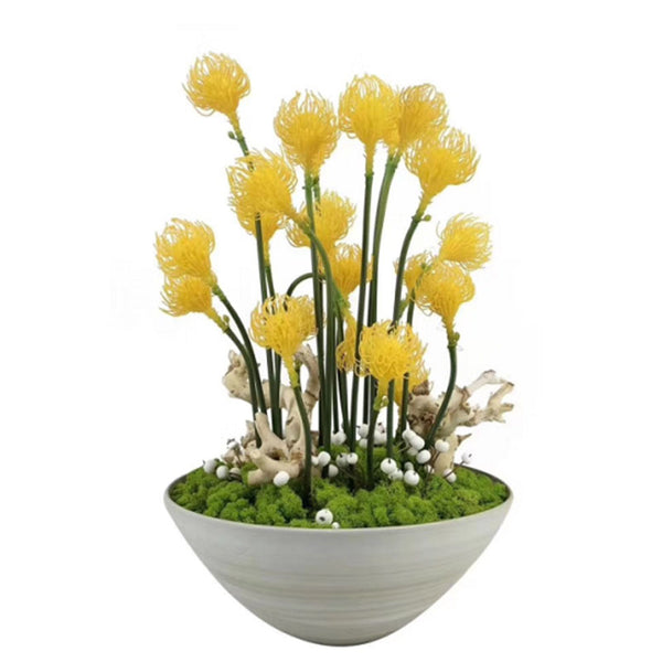Ikebana Art - Artificial Leucospermum Cordifolium and Moss with Vase