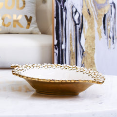 Ceramics Leaf Shape Tray with Floral Art Design - Flowery Ceramic Plate