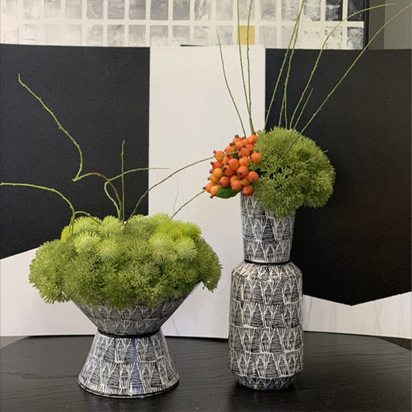 Ikebana Art - Artificial Rambutan, Dianthus and Brier Rose with Geometric Vase