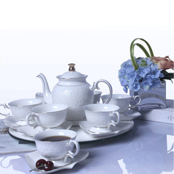 Fine Porcelain Vintage Tea Set for 6, Bone China Ceramic Coffee Set with Floral Design
