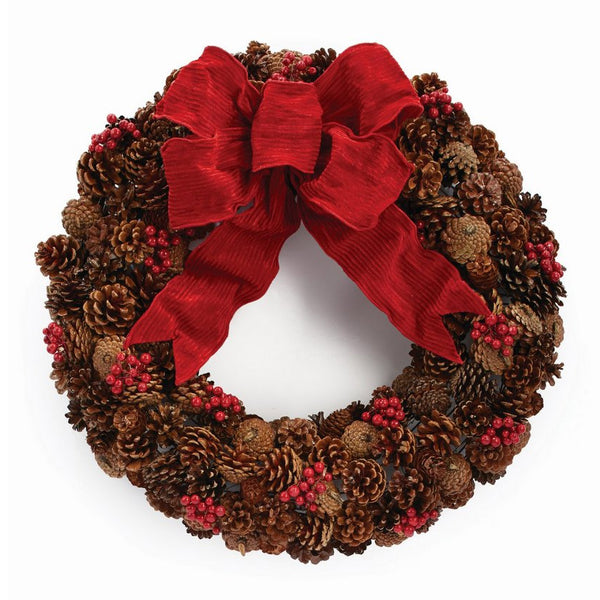Holiday Pine Cone & Berry Wreath