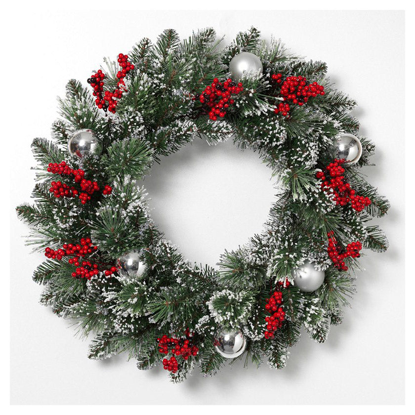 "Decorative 24"" Mixed Snow and Glitter Pine Wreath"