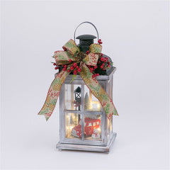 "Decorative 15"" Wood Lantern with Holiday Scene"