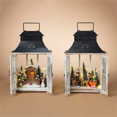 Decorative Wood Lanterns with Holiday Scenes (Set of 2)