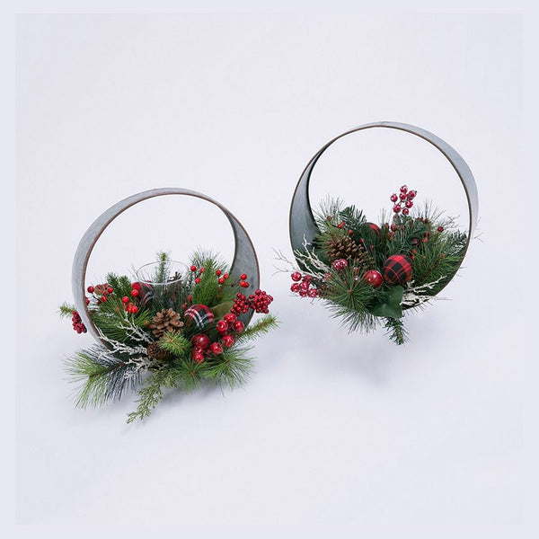 Decorative Oval Table-Top Candle Holder with Floral Accents (Set of 2)