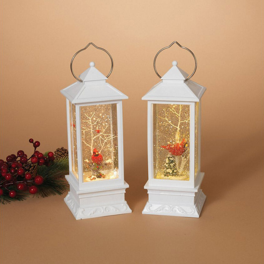 Holiday Elegant Lighted White Snow Globe Lantern (Set of 2)