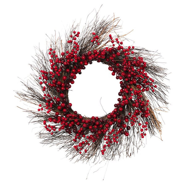 Holiday Natural Twig Holiday Wreath with Red Berries (Set of 2)