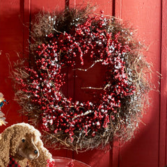 Holiday Snowy Ilex Berry Wreath