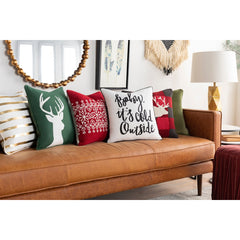 Holiday Throw Pillow - Foil Screen Print Deer