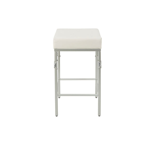 "24"" Upholstered Square Backless Metal Bar Stool"