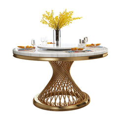 Contemporary Design  Geometry Round Dining Table Modern White Faux Marble Top with /without  Lazy Susan +Stainless Steel Gold Legs