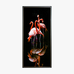 Crystal Painting - A Group of Flamingos in Dark