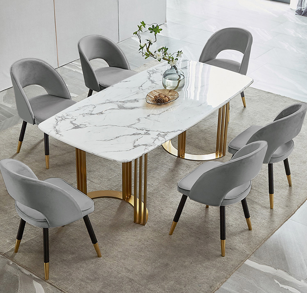 Contemporary   Marble Dining Table Gold Dining Table Rectangular Stainless Steel Dining Table