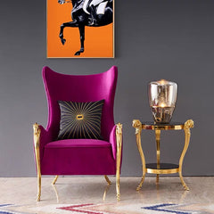 Luxury Interior Design Rams Head Chrome Gold Terminal Arms Velvet Accent Chair/Chair