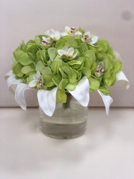 Silk  Hydrangea  Floral  Arrangement  in Vase