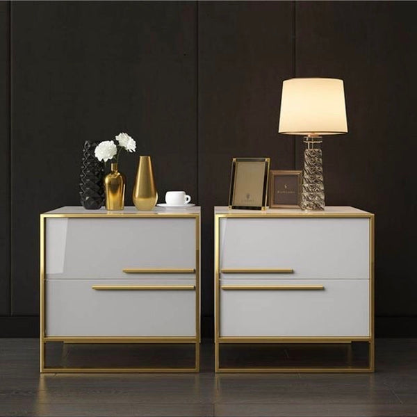 Contemporary Italy Design  2 Drawer White Lacquer Nightstand In Gold  Stainless Steel Base