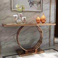 Marble Top Console Table with, Circular design Gold