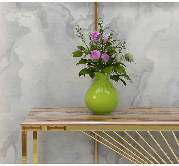 Marble Top Console Table with Simple lines design Gold