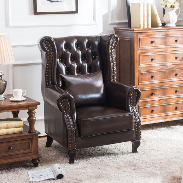 Modern Leather Club Chair - Arm Chair, Brown