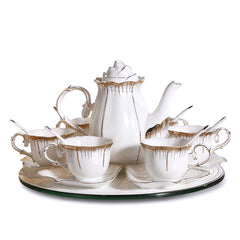 Simple Ceramic Coffee Set With 6 Sets of Tea Cup, Creative White European Bone China, Hand-gilded