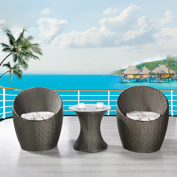Patio Porch Furniture Sets 3 Pieces PE Rattan, Wicker Chairs with Table
