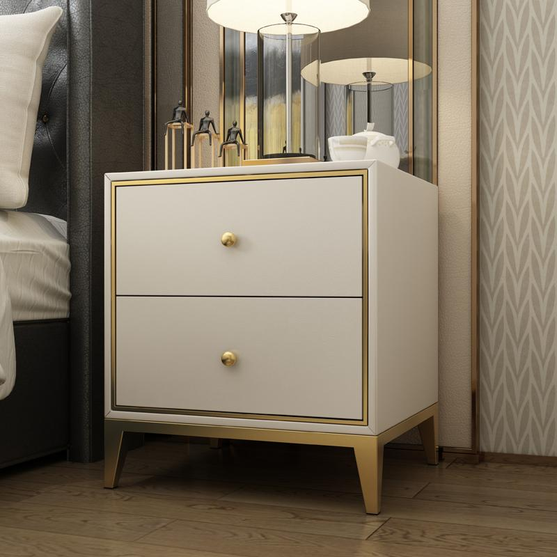 Modern Nightstand Side Table with 2 Drawers, White & Gold