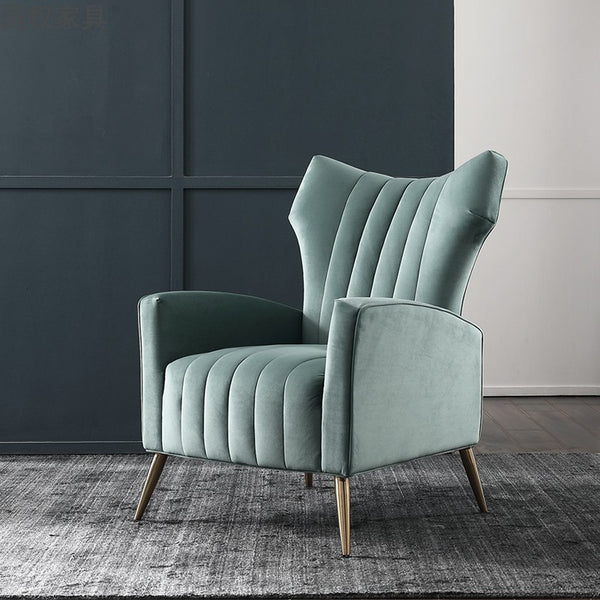 Modern Accent Velvet Arm Chair, Mint Green