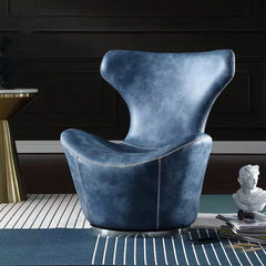 Modern Round 360 Swivel Chair,Leather Peacock Blue