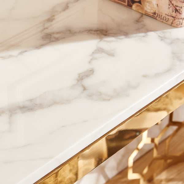 Metal Console Table with Marble Top, Gold