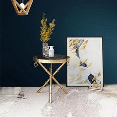 Modern Nightstand - Marble Side Table -End Table with Metal Frame and Golden Ring