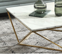 Marble Square Coffee Table, White & Gold