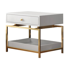 Modern Nightstand Side Table - End Table with 2 Drawers, White & Gold