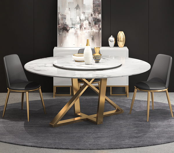 Contemporary Design  Round Dining Table Modern White Faux Marble Top with /without  Lazy Susan +Stainless Steel Gold Legs